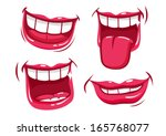 Funny smiles vector set. A set of funny smiling female and male mouths in various facial expressions.