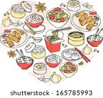various chinese food arranged... | Shutterstock .eps vector #165785993