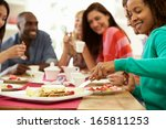 group of friends having cheese... | Shutterstock . vector #165811253