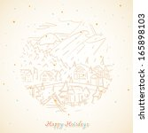 winter card  village | Shutterstock .eps vector #165898103