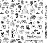 vector christmas hand drawn... | Shutterstock .eps vector #165919307