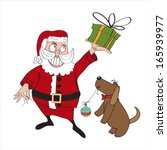 santa claus with gift  comic... | Shutterstock .eps vector #165939977