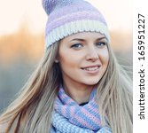 woman with hat and scarf  ... | Shutterstock . vector #165951227