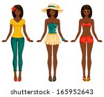 girls in summer clothes. vector ... | Shutterstock .eps vector #165952643