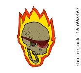 cartoon flaming pirate skull   Shutterstock .eps vector #165963467