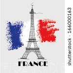 eiffel tower on flag of france... | Shutterstock .eps vector #166000163