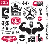 fitness gym icons | Shutterstock .eps vector #166008923