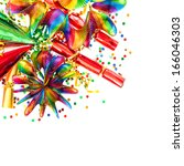 colorful garlands  streamer ... | Shutterstock . vector #166046303