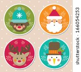 christmas icons  cartoon... | Shutterstock .eps vector #166054253