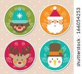 christmas icons  cartoon... | Shutterstock .eps vector #166054253