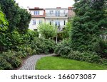 vintage mansion   a garden with ... | Shutterstock . vector #166073087