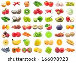 collection of various fruits... | Shutterstock . vector #166098923