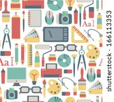seamless pattern with graphic... | Shutterstock .eps vector #166113353