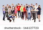 large group of happy... | Shutterstock . vector #166127723