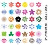 set of  flowers vector | Shutterstock .eps vector #166141553