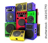 colored group of speakers  loud ... | Shutterstock . vector #166141793