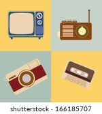 retro icons over vintage... | Shutterstock .eps vector #166185707