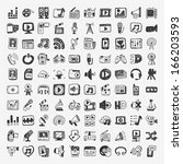 doodle media icons set | Shutterstock .eps vector #166203593