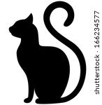 Black Cat Silhouette On A Whit...