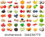 collection of various fruits... | Shutterstock . vector #166236773