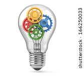 light  bulb and gears.... | Shutterstock . vector #166250033
