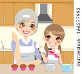 grandmother teaching cooking to ... | Shutterstock . vector #166277993
