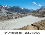 view of the gorak shep village... | Shutterstock . vector #166296407
