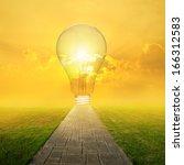 concrete road and big idea bulb ...   Shutterstock . vector #166312583