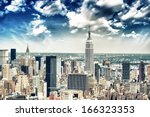 new york city skyline aerial... | Shutterstock . vector #166323353