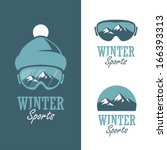 Three badges for winter sports with mountains, ski mask and winter hat