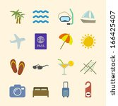 set of holidays icons for ocean ...