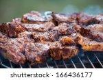 lamb chops on grill | Shutterstock . vector #166436177