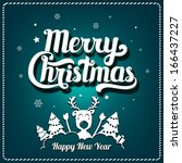 christmas greeting card. merry... | Shutterstock .eps vector #166437227