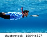 Funny Businessman Swimming...