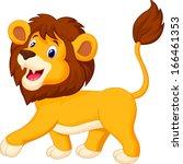 cute lion cartoon walking | Shutterstock . vector #166461353