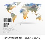 polygonal world map and... | Shutterstock .eps vector #166461647