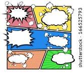 comic speech bubbles vector... | Shutterstock .eps vector #166525793