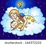 mom and baby sleep | Shutterstock .eps vector #166572233