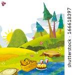 cartoon scenery   summer  ... | Shutterstock . vector #166618397