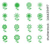abstract green flowers vector...