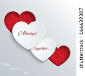 valentines day card with paper... | Shutterstock .eps vector #166639307