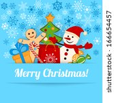 blue christmas card or... | Shutterstock . vector #166654457