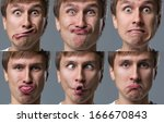 man makes lots of crazy face... | Shutterstock . vector #166670843