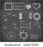 set of design elements  borders ... | Shutterstock .eps vector #166671053