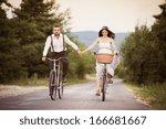 beautiful bride and groom... | Shutterstock . vector #166681667