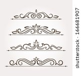 set of four calligraphic floral ... | Shutterstock .eps vector #166681907