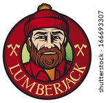 lumberjack label (lumber jack sign, forester symbol, woodcutter icon, logger design)