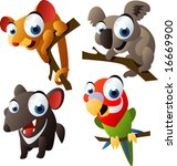 vector animal set 66: australian: bandicoot, koala, tasmanian devil, lorikeet