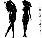 sexy woman silhouettes | Shutterstock .eps vector #166710347