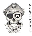 skull pirate tattoo. hand... | Shutterstock . vector #166726133